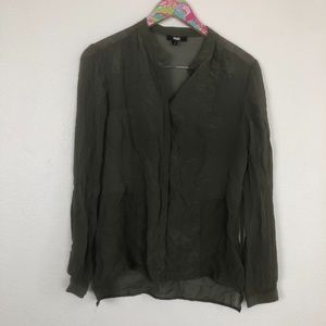 Paige olive green sheer top size S